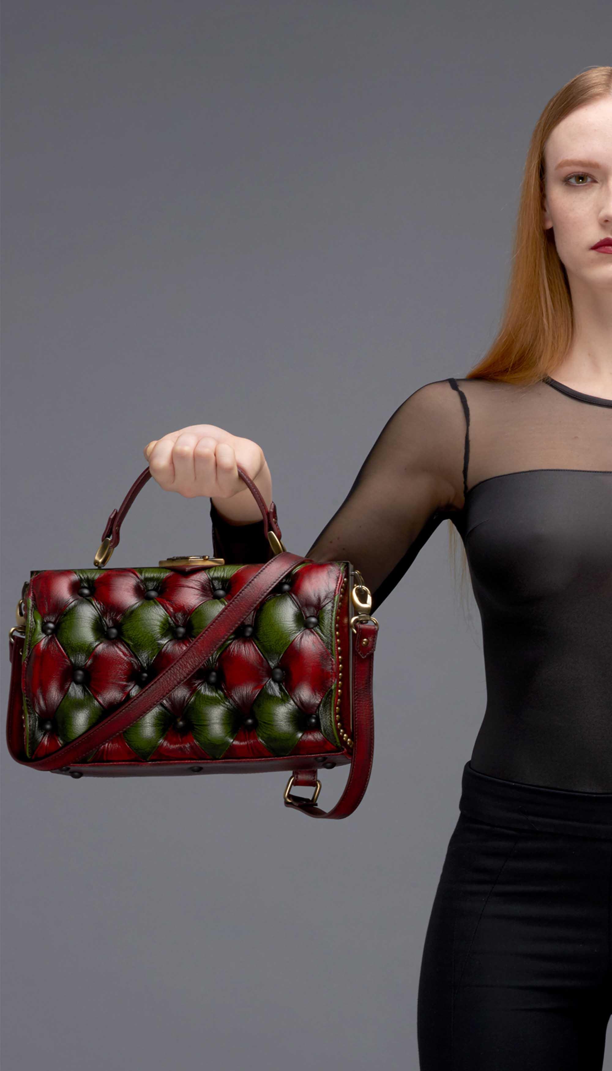Harleq bag red green leathers