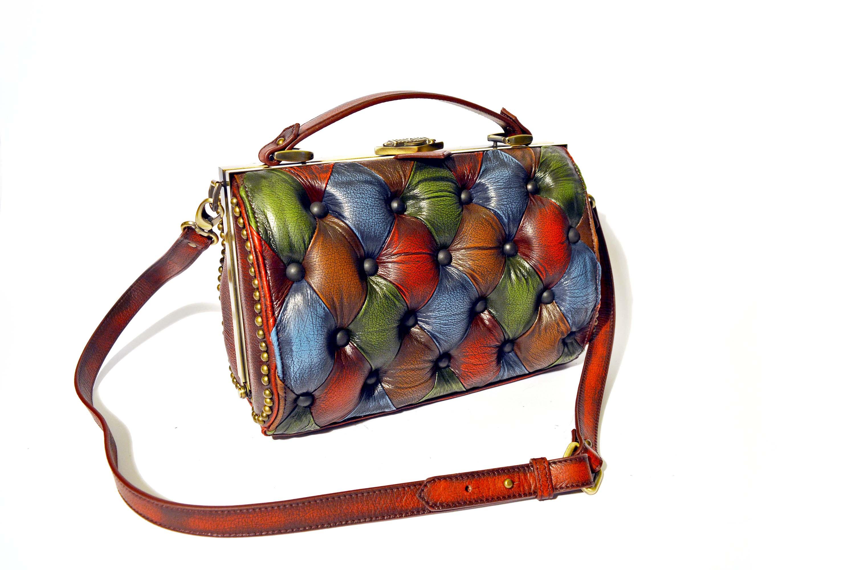 luxury design leather handbag borsa harleq vintage