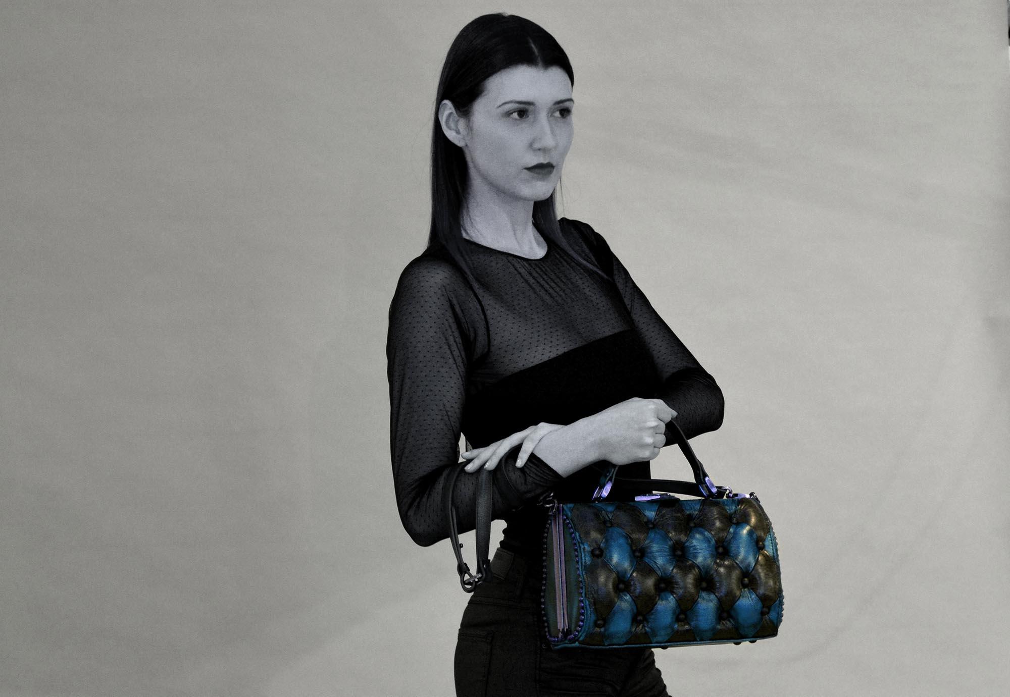 night blue harleq bag leather