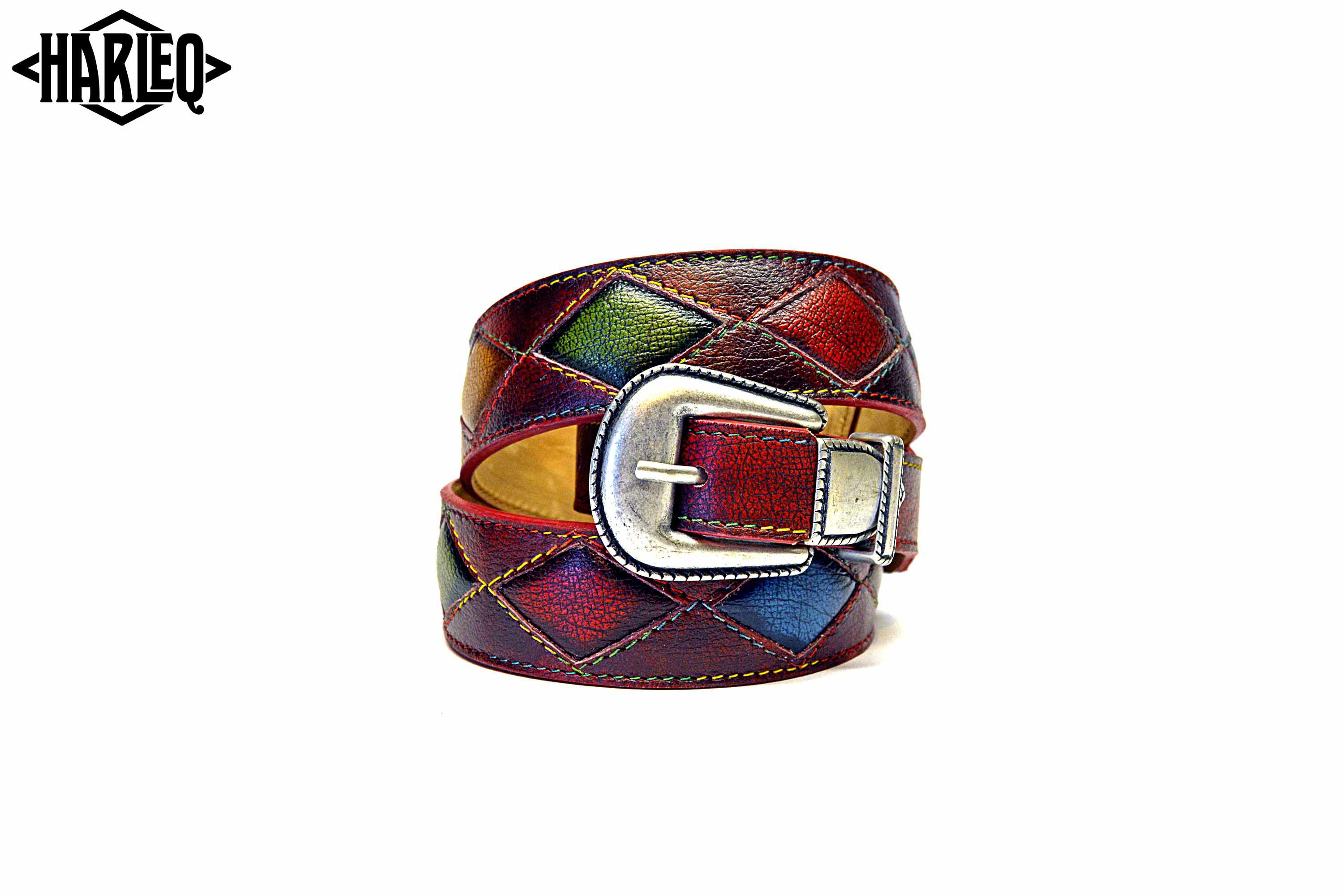 belts handmade multicoloured patchwork leathers