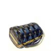 black blue leather handbag