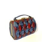 blue red harleq bag leather