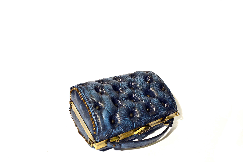 borsa pelle blu vintage