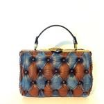 brown blue leather handbag