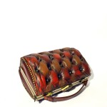 brown red handbag