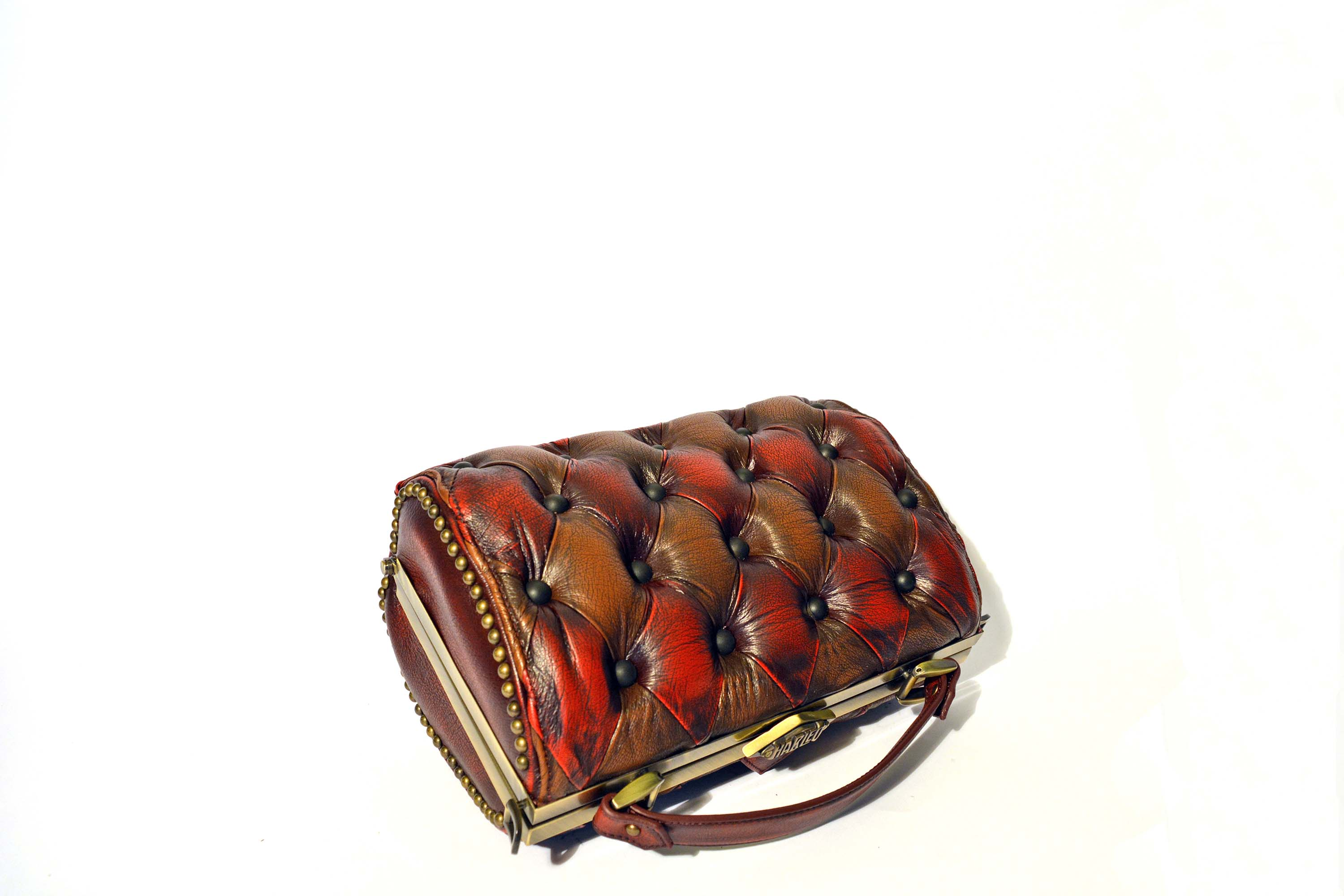 brown red handbag