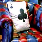 card leather cushion pillow original