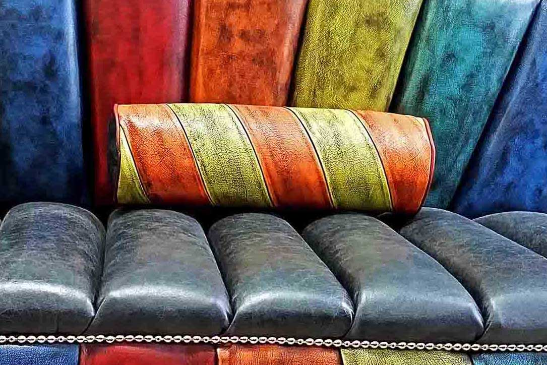 tube leather patchwork pillow bolster