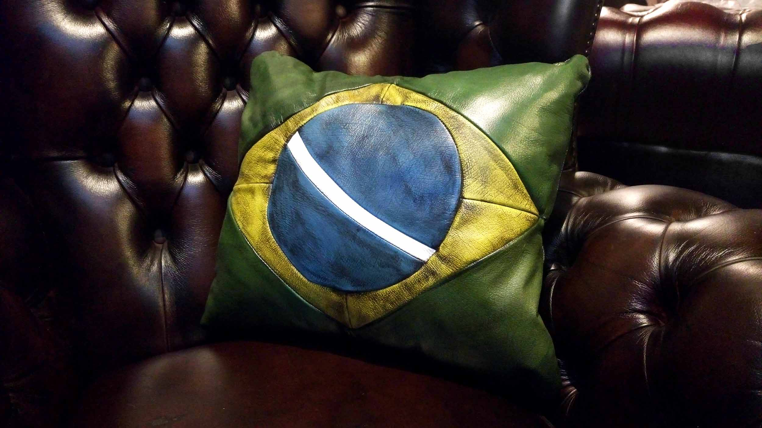 brazil leather pillow