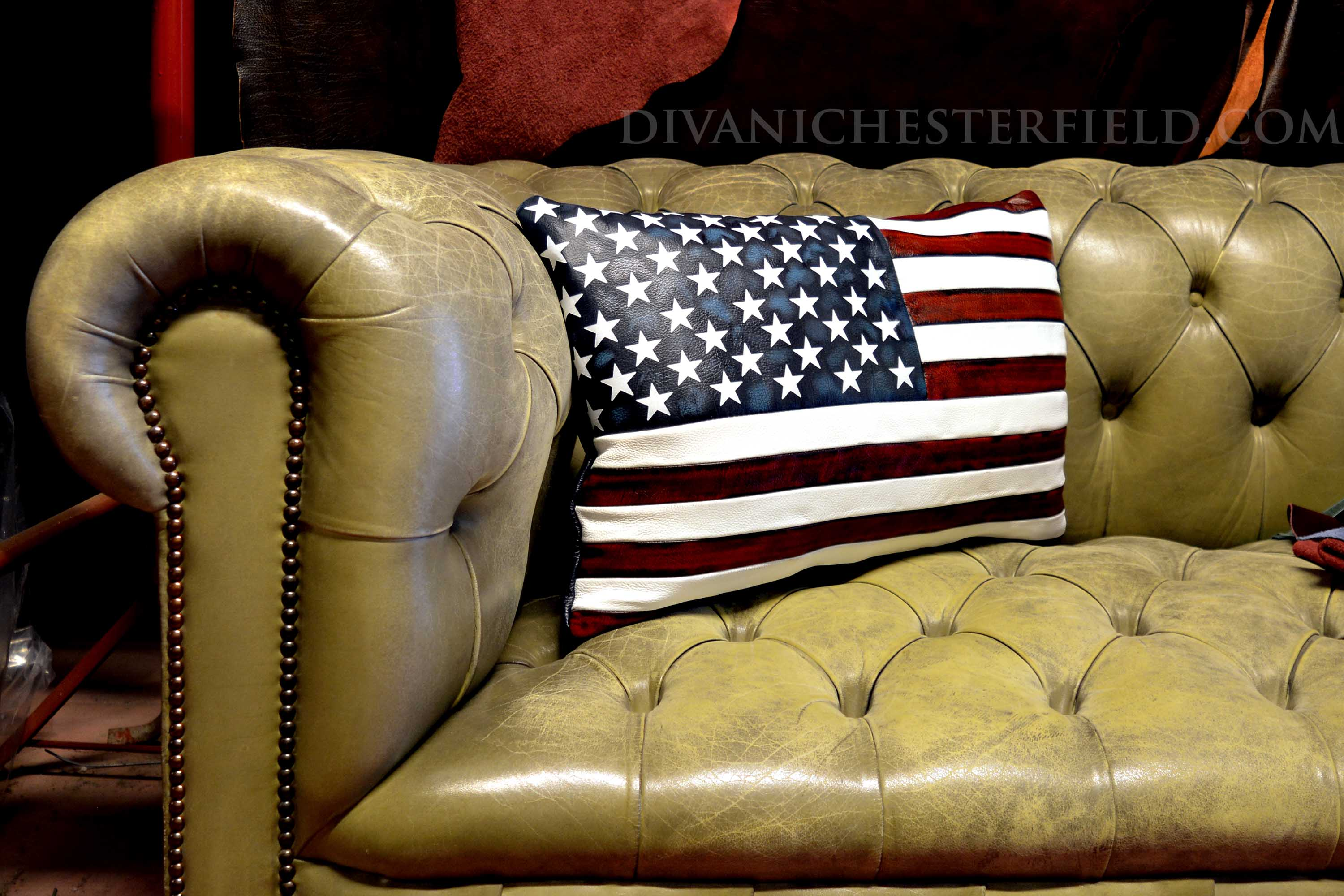 USA flag leather pillow