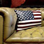 leather usa flag pillow cushion