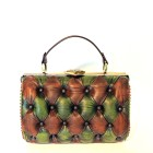 green brown leather bag