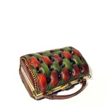 green red handbag leather