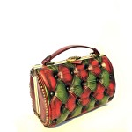 green red vintage handbag