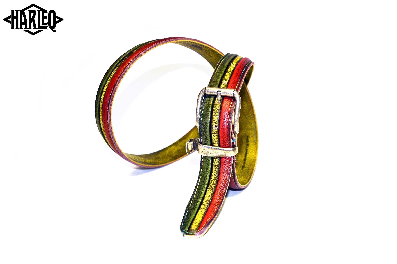 green-yellow-red-belt-handmade-leather
