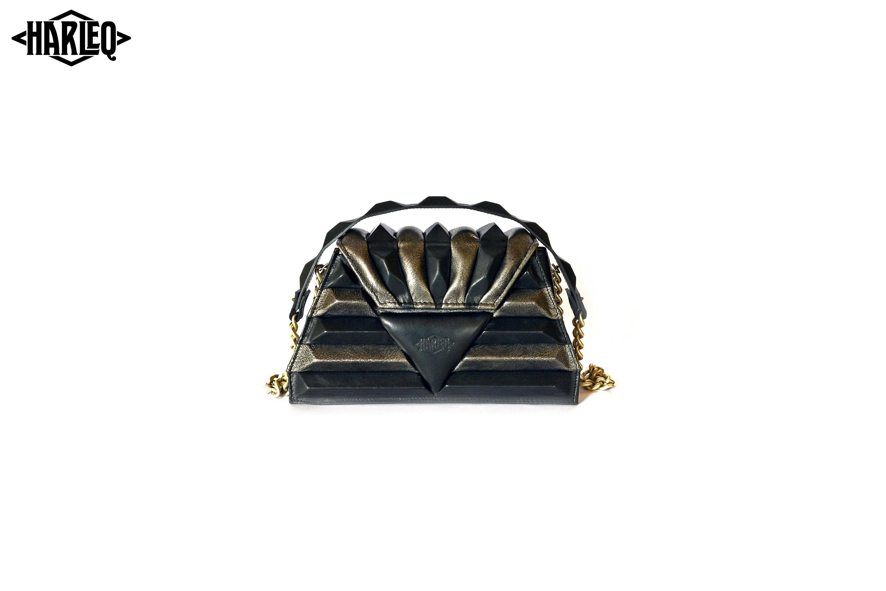 grey black leathers pochette harleq sphinx