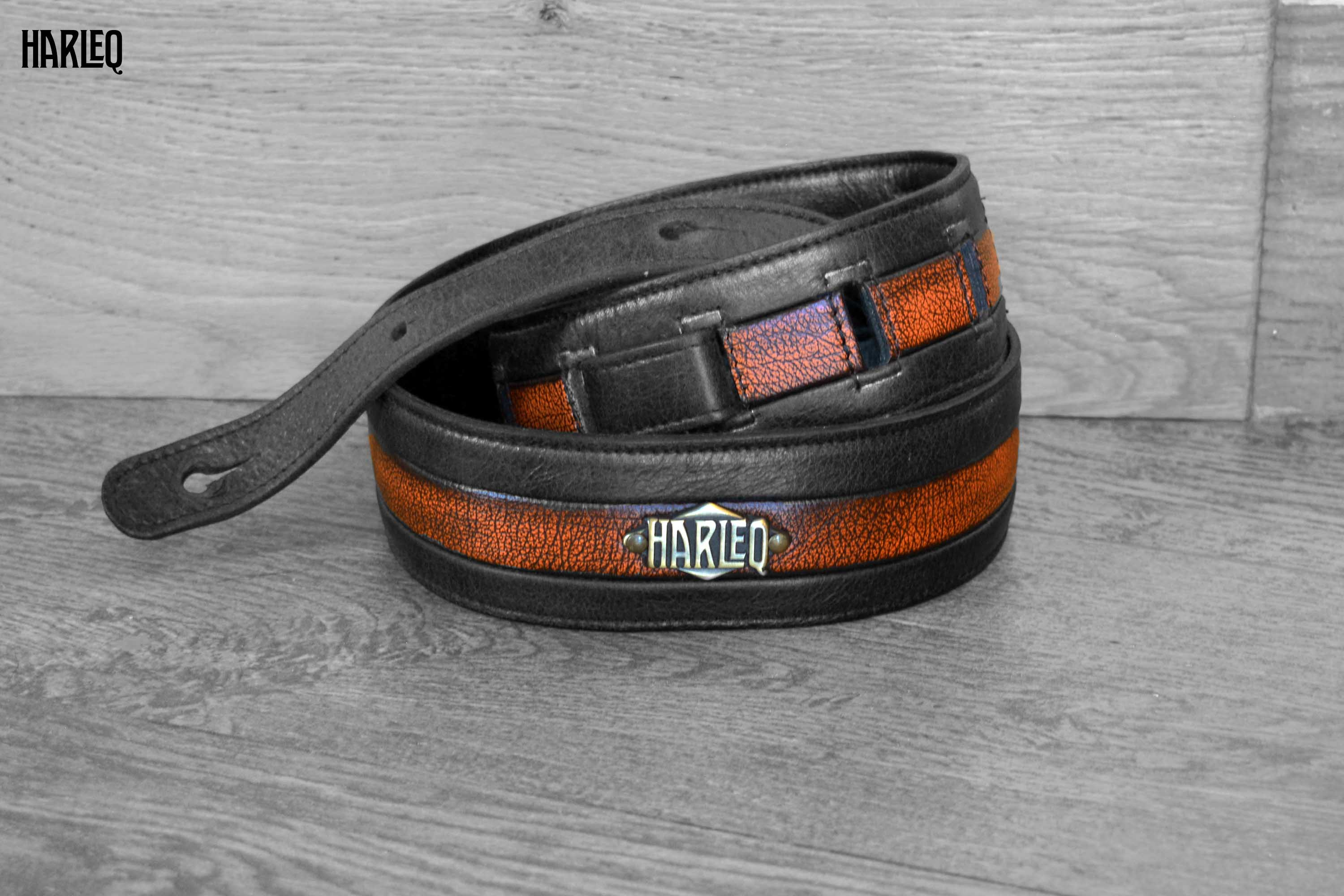 guitar-belt-leather-black-orange-handmade-in-italy-customizable