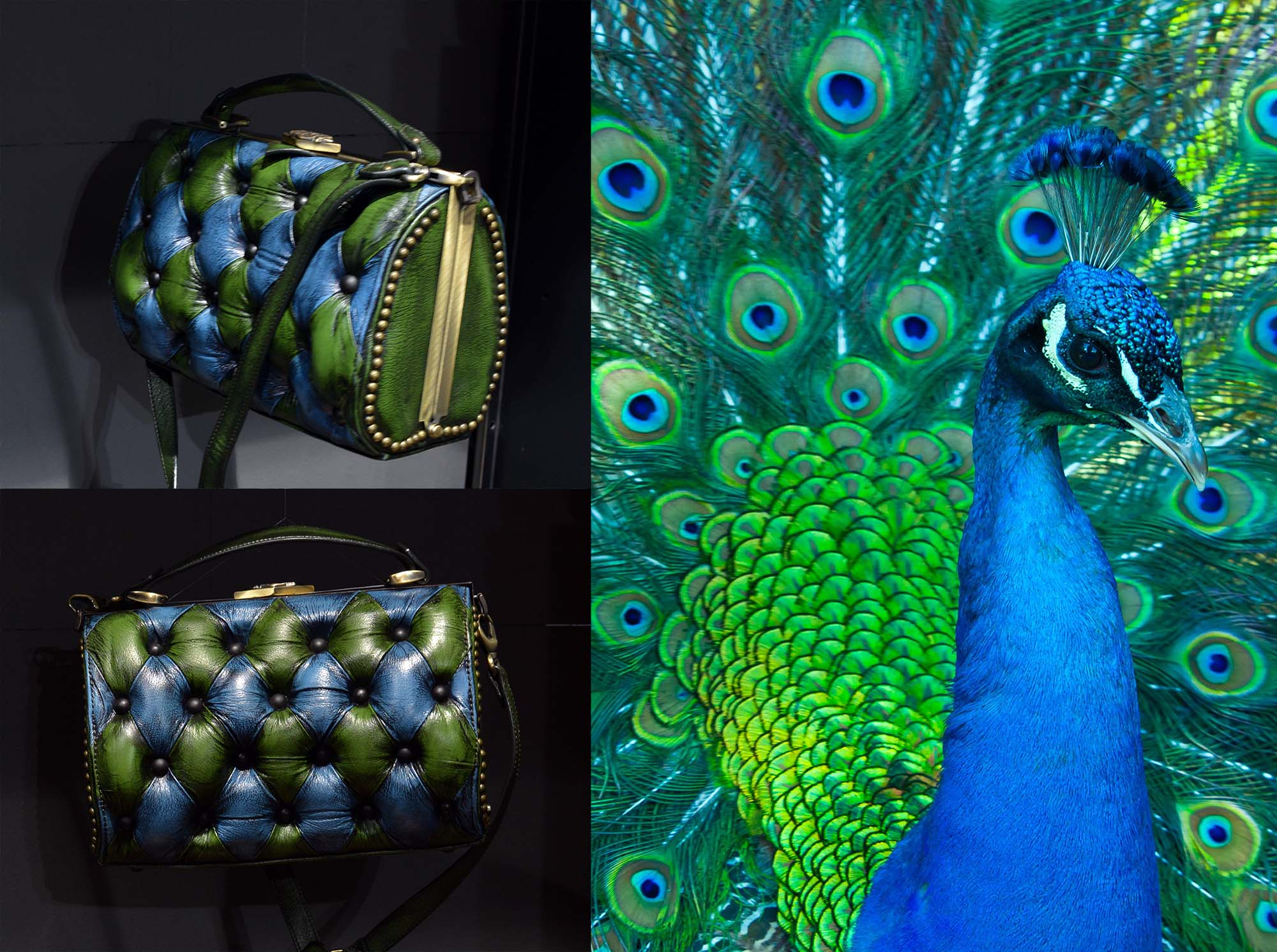 harleq bag green blue leather