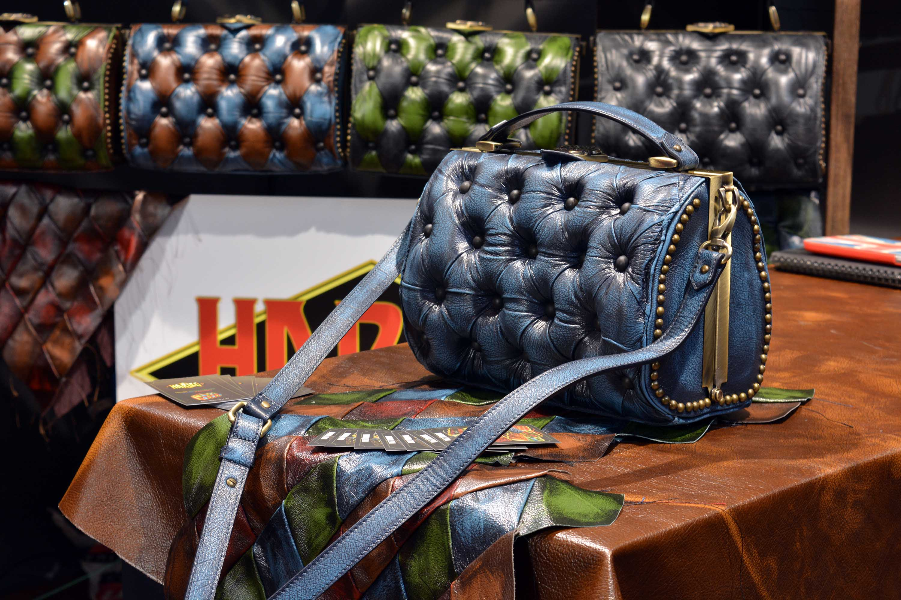 blue bag leather harleq