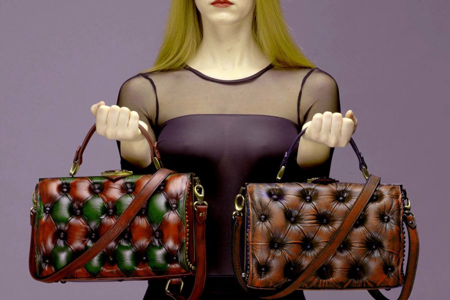 harleq brown green leather handbag