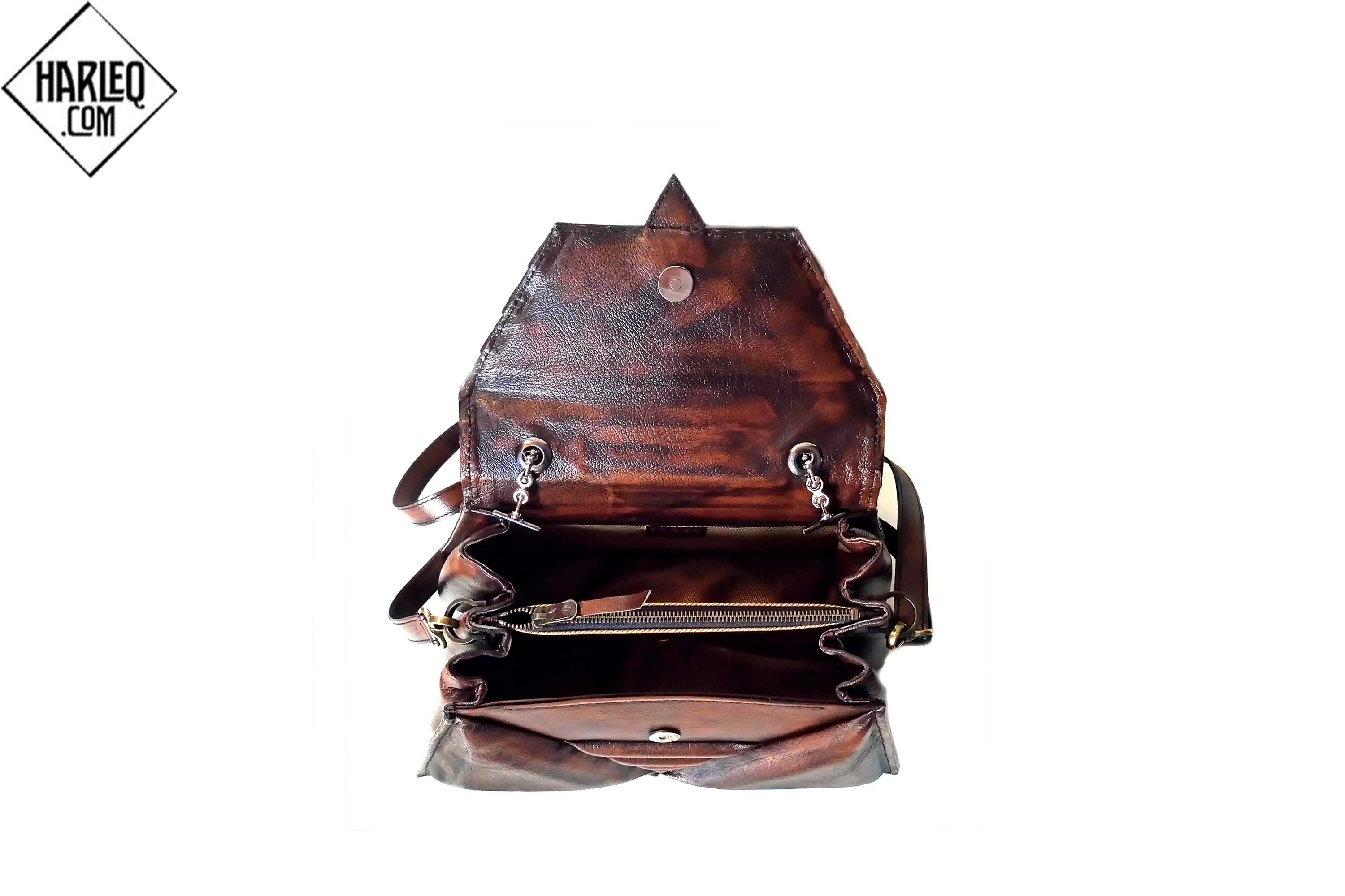 harleq brown leather triangles bag