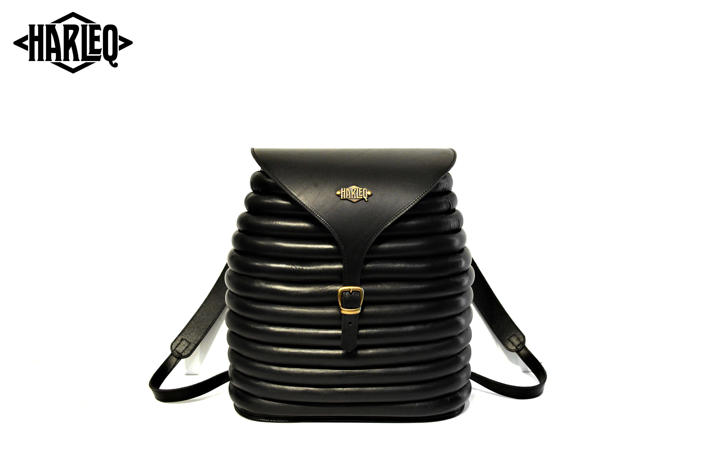 harleq curvy backpack leather black