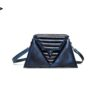 harleq luxury blue eather triangles bag