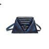 harleq luxury blue eather triangles bag
