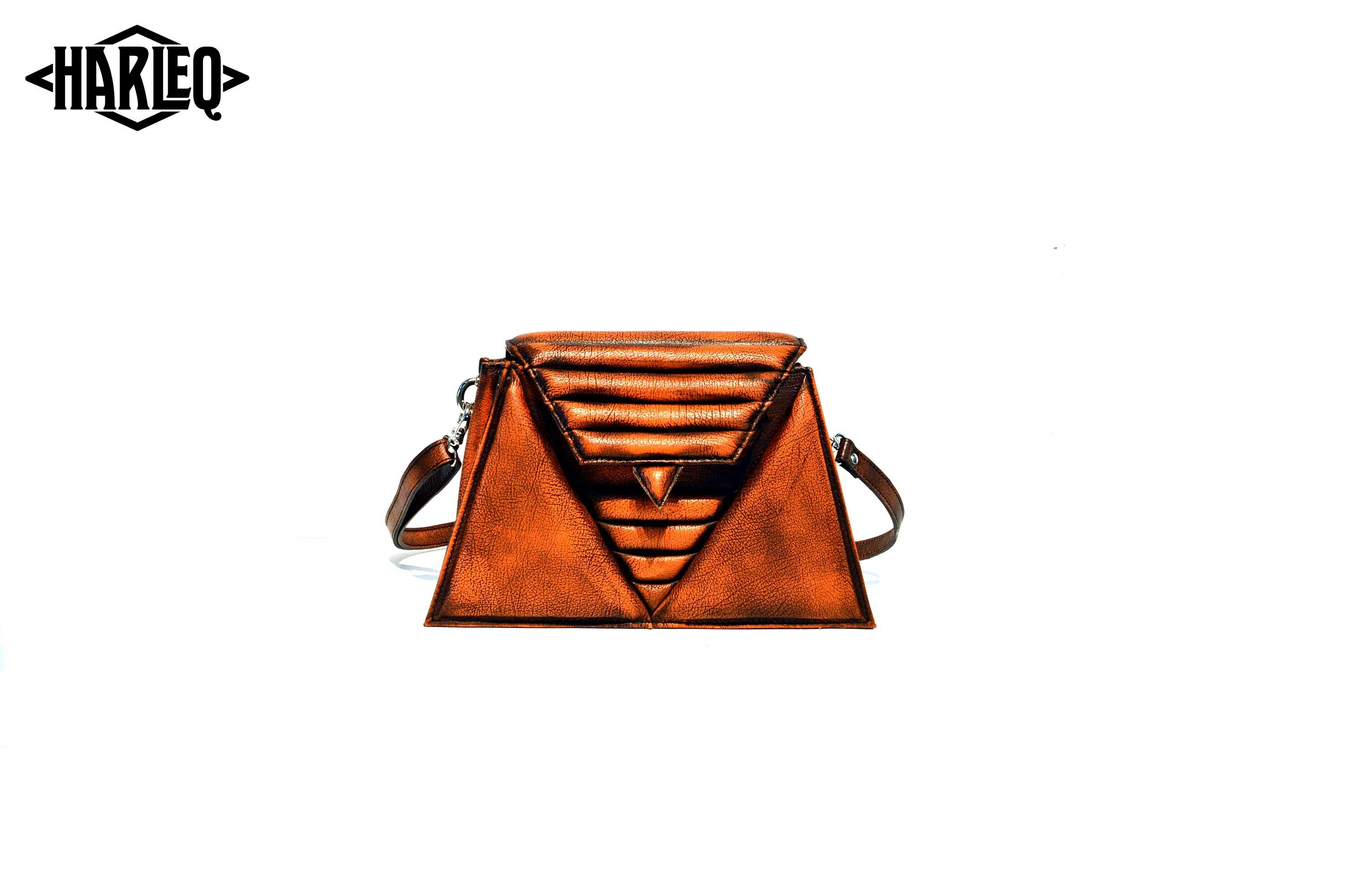 harleq luxury orange leather triangles bag