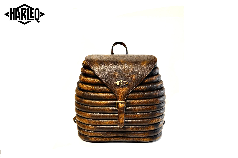 harleq rounded backpack gold