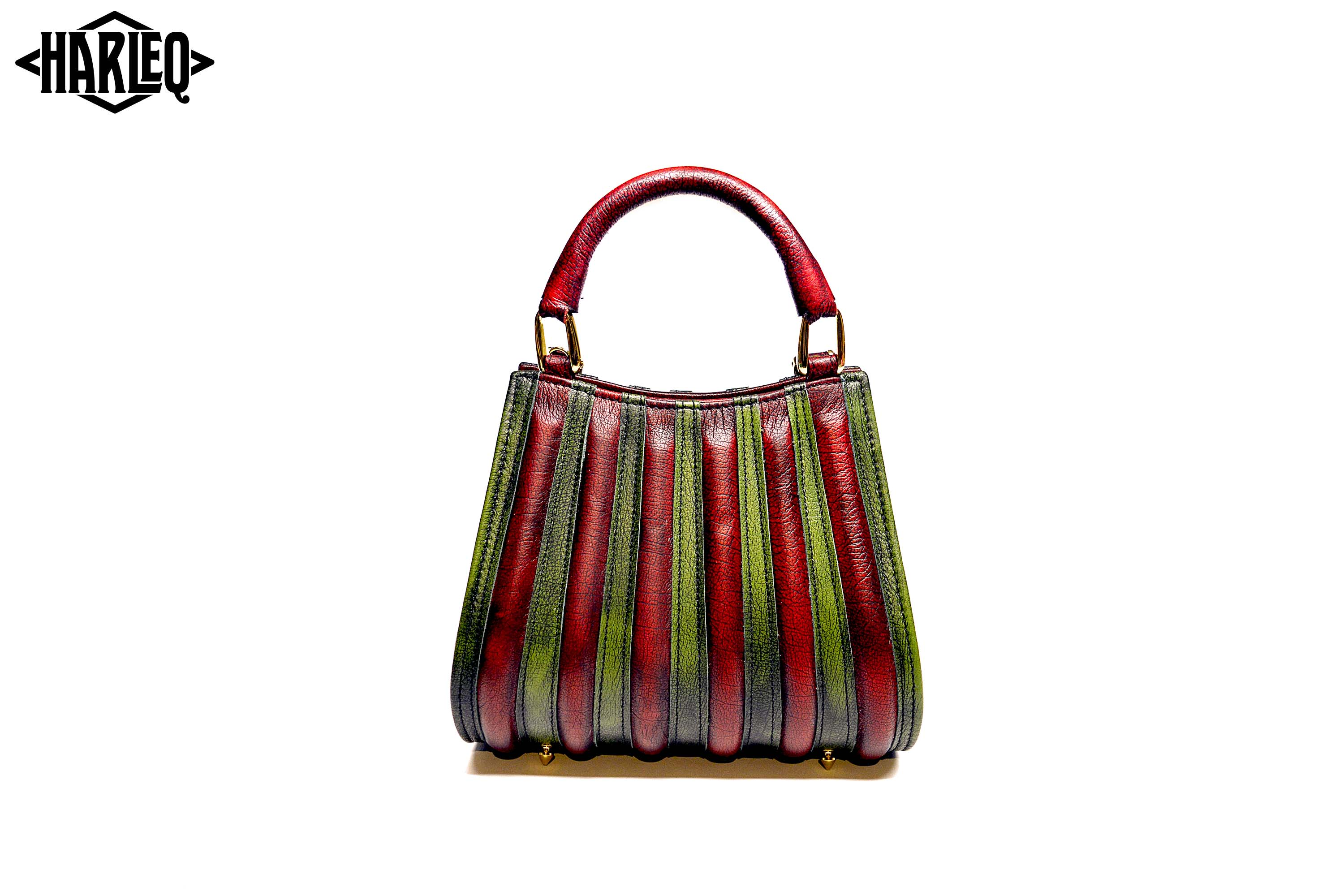 harleq the spine mini luxury bag red green leathers