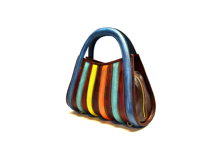 harleq luxury leather rainbow bag