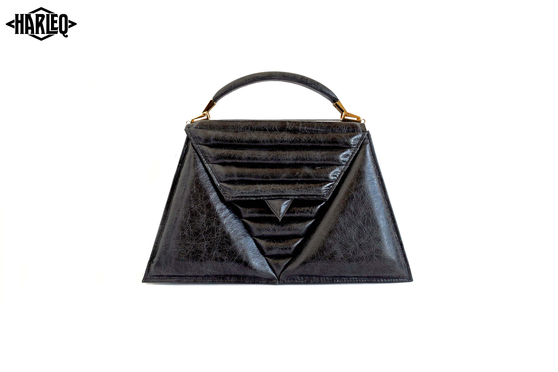 luxury-handbag-harleq-black-leather-triangles-front