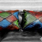 patchwork cushions leather pillows colors