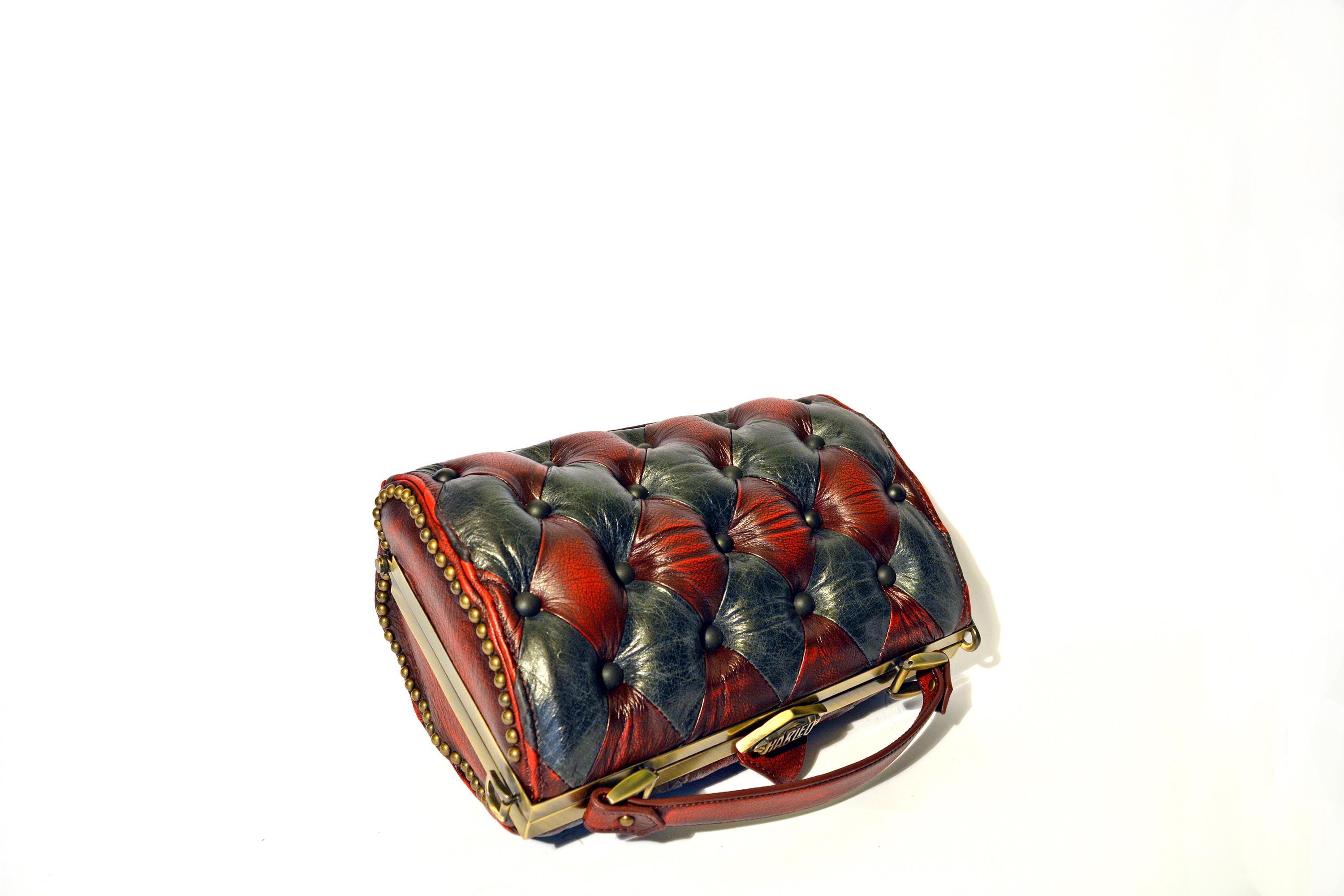 red black leather bag luxury