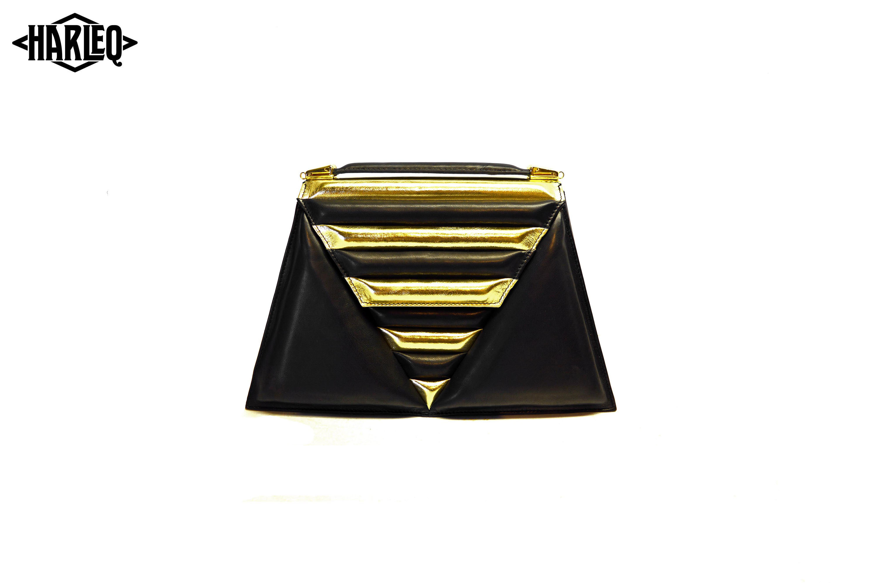 triangles luxury bag black gold leathers