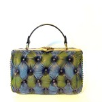 vintage leather green blue bag